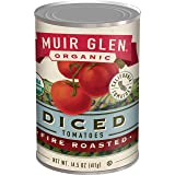 Muir Glen Canned Tomatoes, Organic Diced Tomates, Fire Roasted, No Sugar Added, 14.5 Ounce Can (Pack of 12)