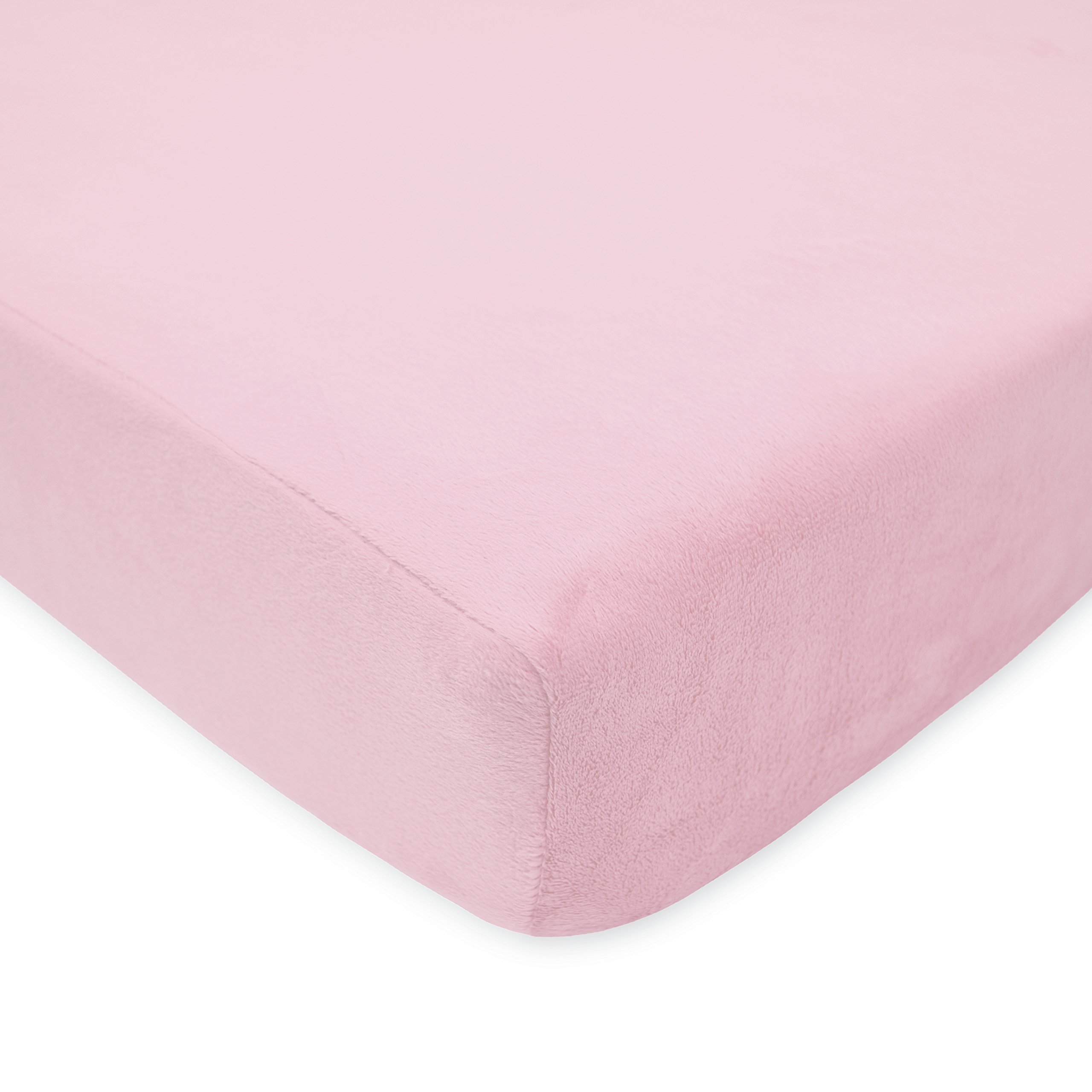 American Baby Company Heavenly Soft Chenille Fitted Crib Sheet for Standard Crib and Toddler Mattresses, Pink, for Girls, 1 Count by American Baby Company