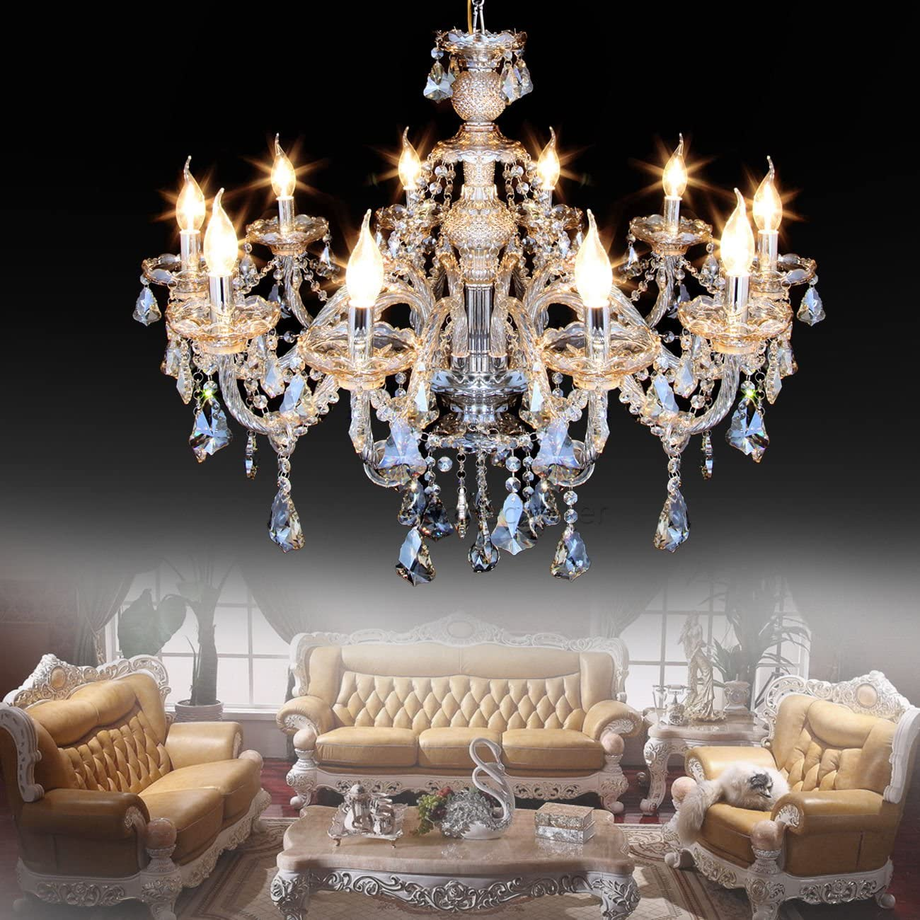 Ridgeyard 25.6 x 35.4 Inch Modern Luxurious 10 Lights K9 Crystal Chandelier  Candle Pendant Lamp Living Room Ceiling Lighting for Dining Bedroom ...