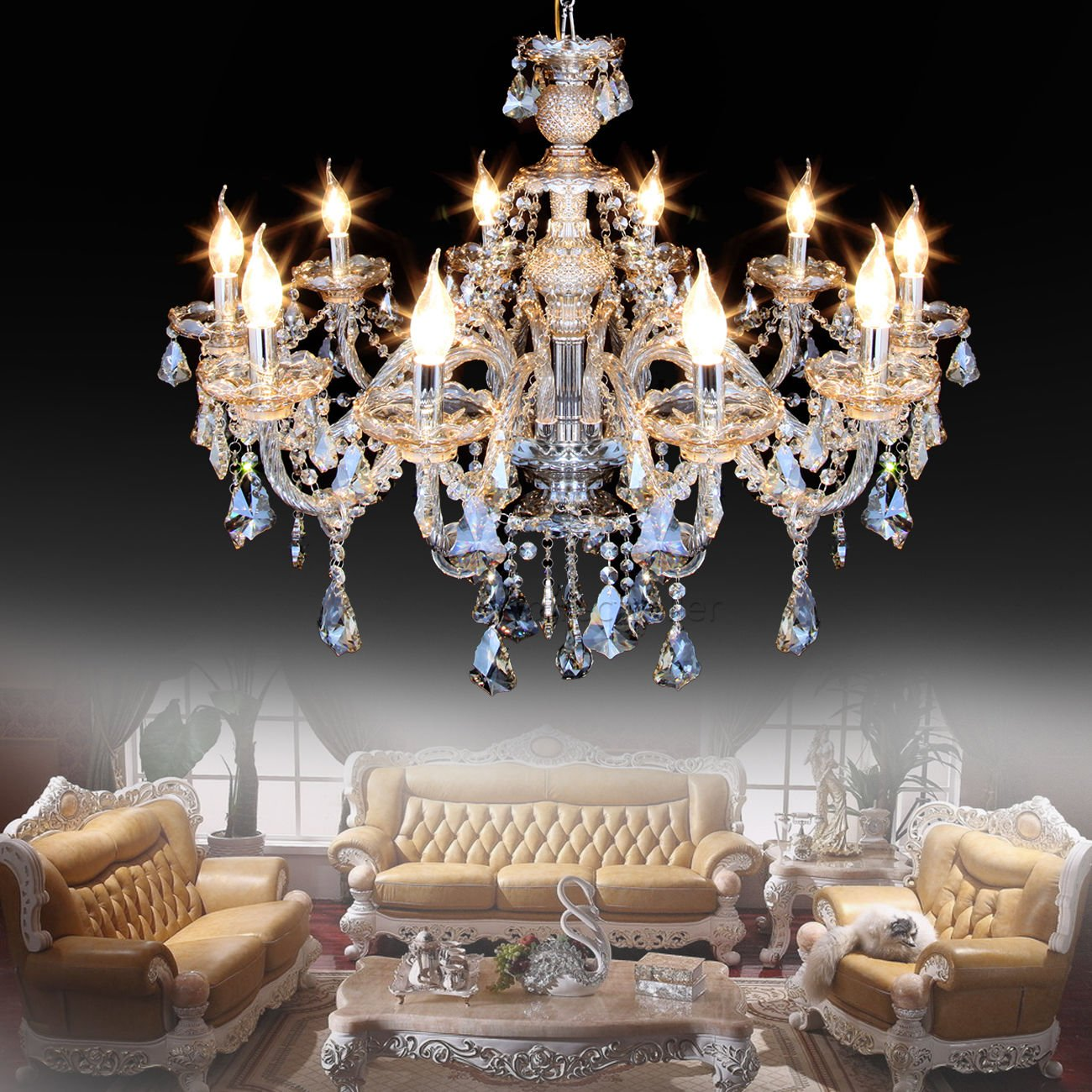 Ridgeyard 10 Lights Modern Luxurious K9 Crystal Chandelier Candle Cognac Pendant Lamp Ceiling Living Room Lighting For Dining Bedroom Hallway