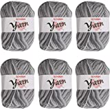 BCMRUN Soft Yarns 6 * 50g 300g 3-ply Milk Baby Cotton Perfect for Any Knitting and Crochet Mini Project for Craft, Hats, Glov