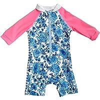BONVERANO Baby & Kids Girls UPF 50+ Sun Protection Swim One Pieces Suits (3-6 Months, Blue)
