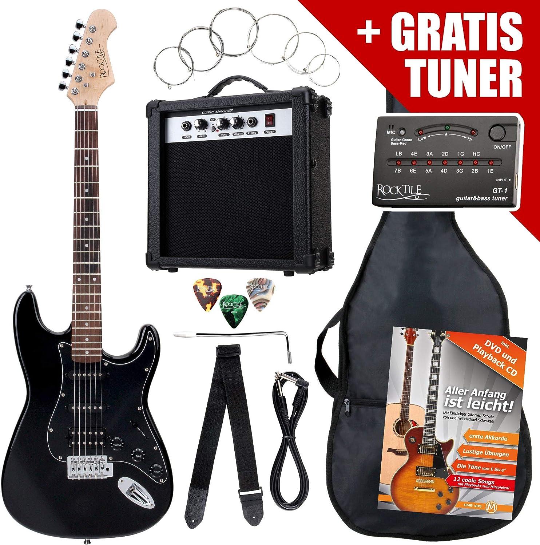 Rocktile ST Pack guitarra eléctr Set negro incl. ampl, bolsa ...