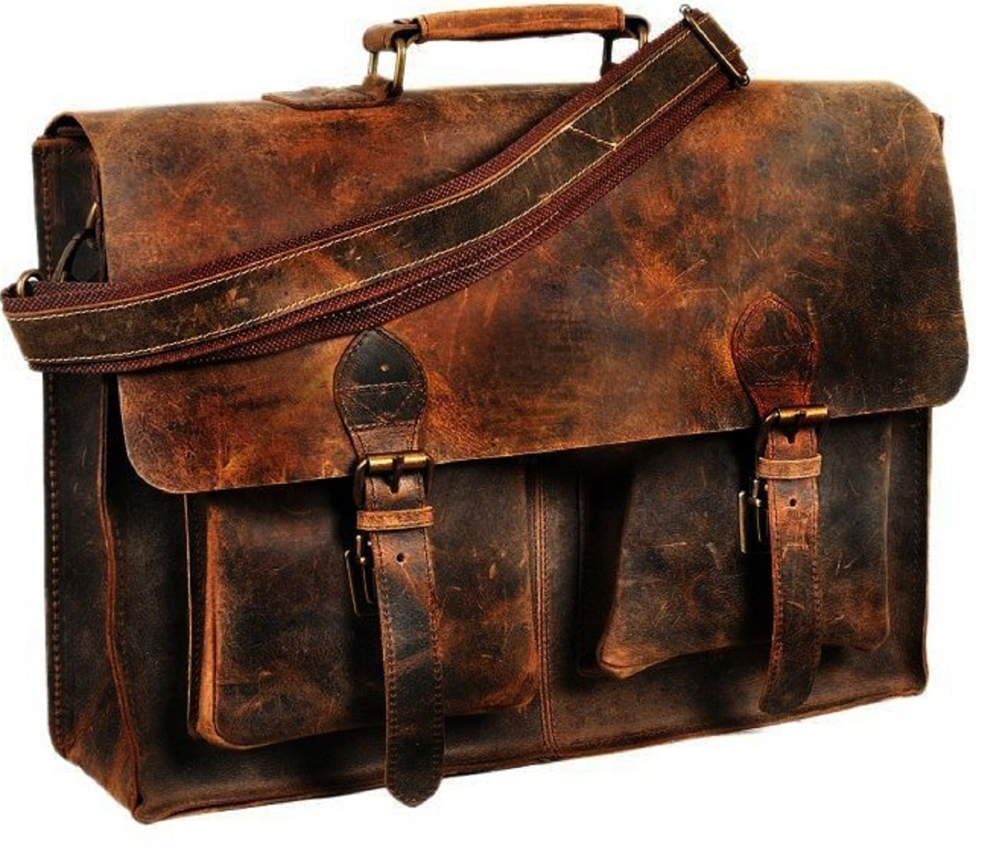 MESSENGER BAG RETRO BUFFALO HUNTER LEATHER LAPTOP MESSENGER BAG OFFICE BRIEFCASE COLLEGE 16 INCH by VINTAGE COUTURE VCB 01