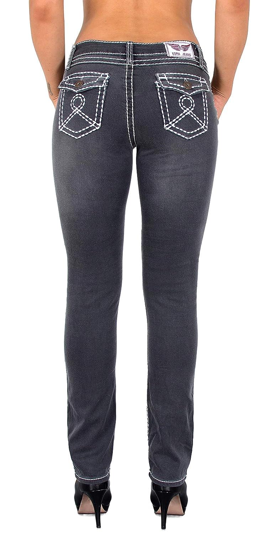26542bca898ff7 ESRA Damen Jeans Hose Straight Leg Damen Jeanshose Dicke Naht viele Farben  bis Übergröße J540 größeres Bild