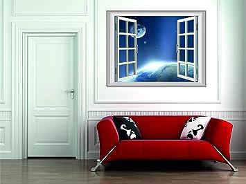 Stickerkoenig Wandsticker Fenster Weltall Motiv Wandtattoo Deko