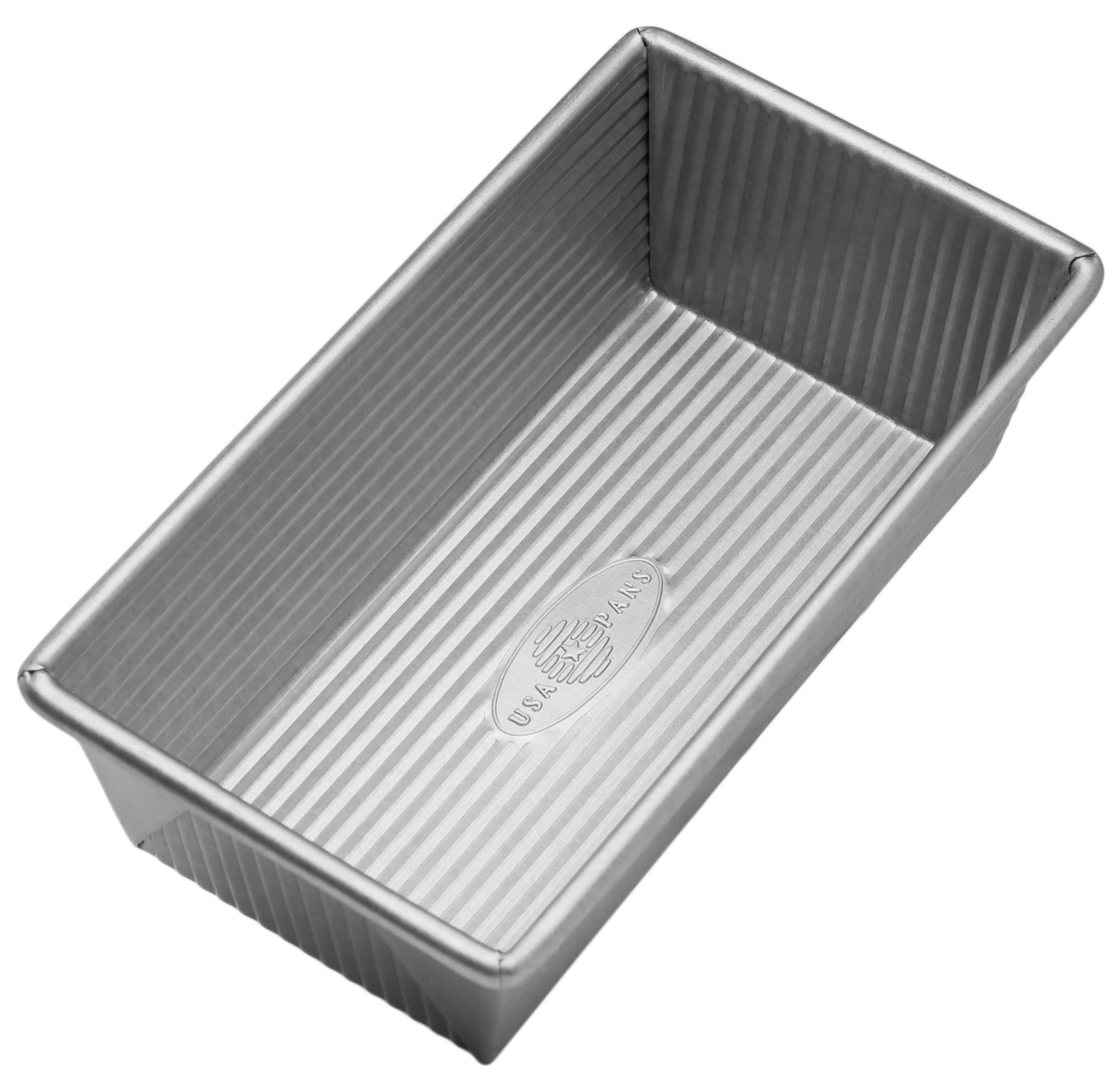 USA Pan Bakeware Aluminized Steel Loaf Pan 1140LF 8.5 x 4.5 x 3 Inch, Small, Silver by USA Pan