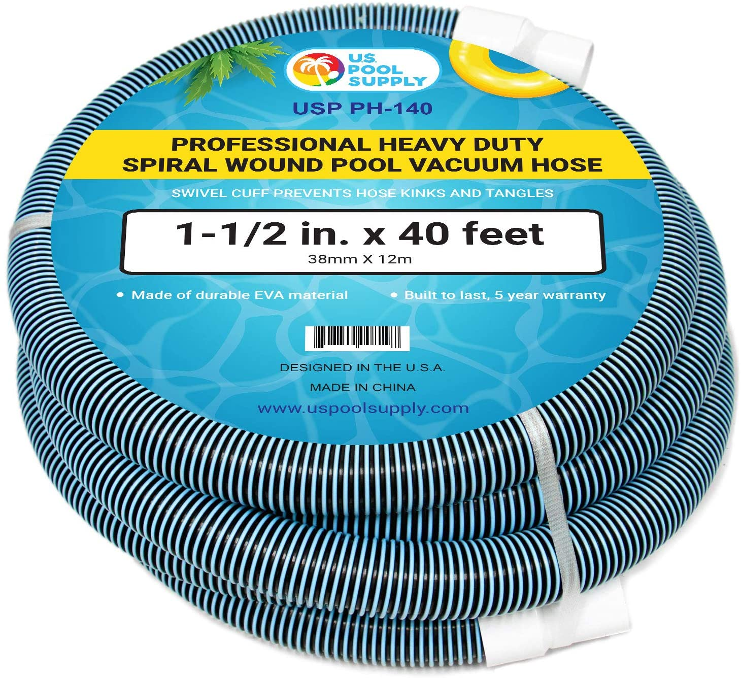 """U.S. Pool Supply 1-1/2"""" x 40 Foot Professional Heavy Duty Spiral Wound Swimming Pool Vacuum Hose with Swivel Cuff"""