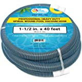 "U.S. Pool Supply 1-1/2"" x 40 Foot Professional Heavy Duty Spiral Wound Swimming Pool Vacuum Hose with Swivel Cuff"