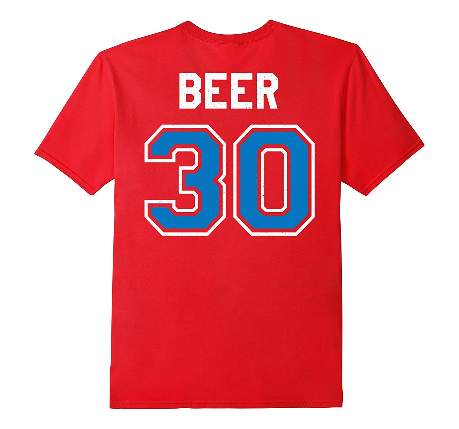 Beer 30 Athlete Uniform Jersey Funny Gag Gift Blue T-Shirt-FL