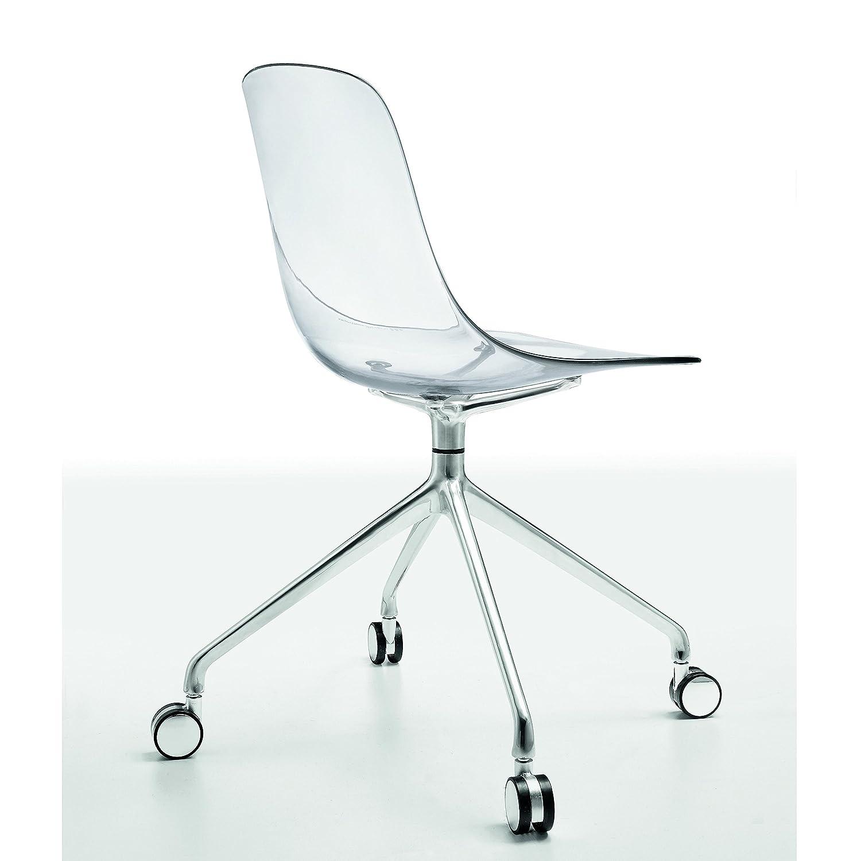Silla giratoria con asiento transparente, armazon de aluminio y ruedas.
