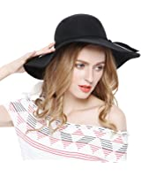 Women 100% Wool Wide Brim Cloche Fedora Floppy hat Cap
