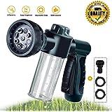 Garden Hose Nozzle,Adjustable Hose Spray Nozzle New Upgrade Garden Hose Spray Nozzle High Pressure 8 Way Spray Pattern With 3.5Oz Soap Sprayer Power 8 Bar Garden Hose Nozzle Sprayer Water Hose Nozzle