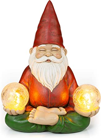 VP Home Zen - Lámpara solar para jardín, diseño de gnomo de yoga: Amazon.es: Iluminación