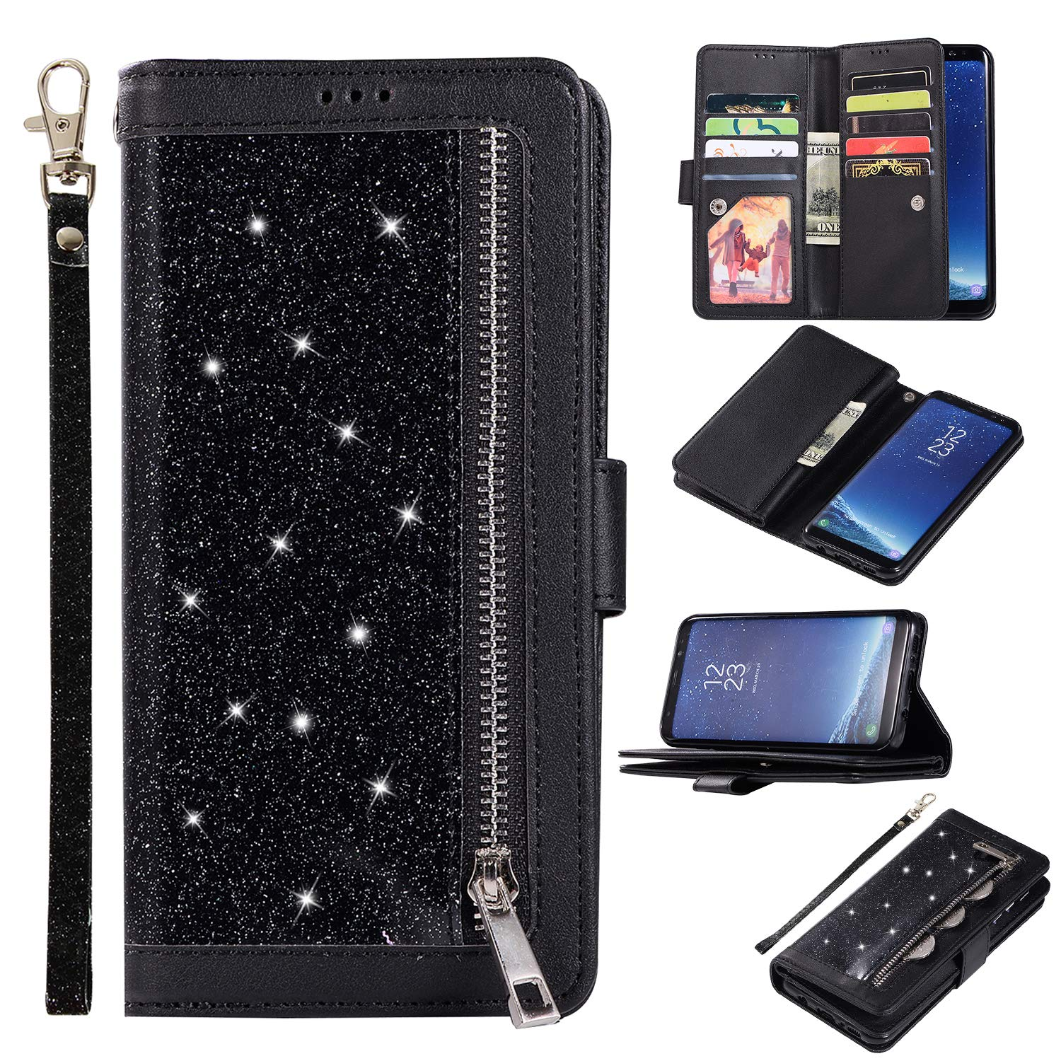 Shinyzone Glitter PU Case for Samsung Galaxy S8,Wallet Leather Flip Case with Zipper Pocket,Bling Cover with 9 Card Holder and Wrist Strap Magnetic Stand Function,Black by Shinyzone (Image #1)