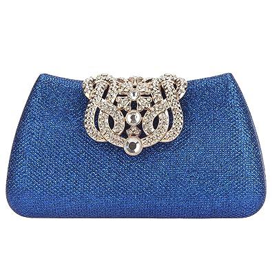 Fawziya Crown Clutches For Women Evening Glitter Box Clutch Purses-Blue ff4edf98c3d5