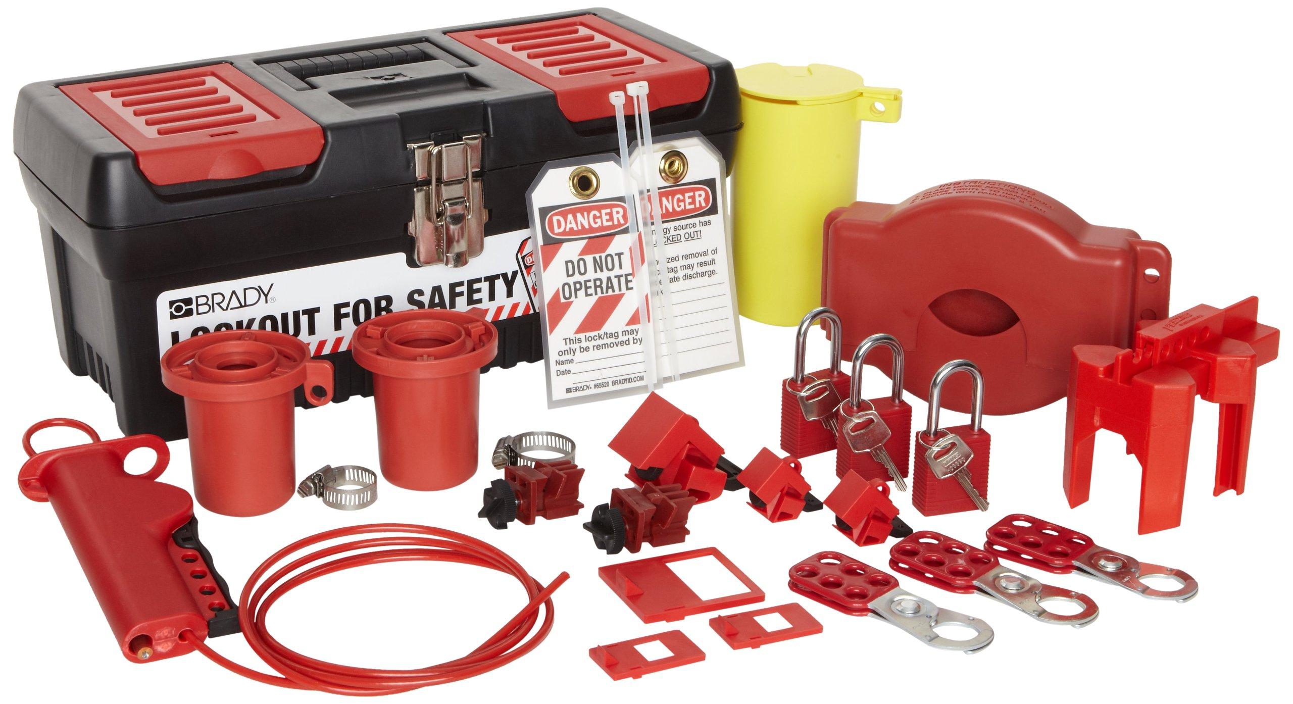 Brady Valve and Electrical Lockout Toolbox Kit, Includes 3 Safety Padlocks by Brady
