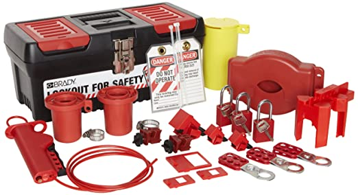 brady valve and electrical lockout toolbox kit includes 3 safety padlocks - Lock Out Tag Out Kits