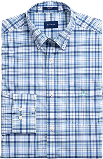 Gant Camisa Cuadros Azules: Amazon.es: Ropa y accesorios