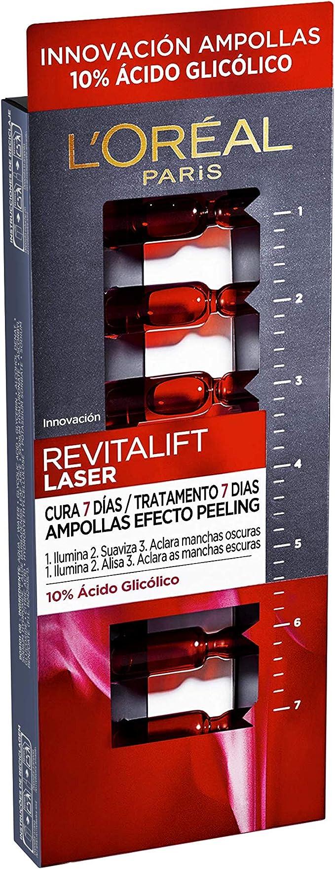 L Oréal Paris Revitalift Láser Ampollas Efecto Peeling Para 7 Días Con ácido Glicólico 7 Unidades 1 3 Ml Amazon Es Belleza