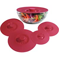 Silicone Bowl Lids Red, Set of 5 Reusable Suction Seal Covers for Bowls, Pots, Cups. Food Safe Natural grip, interlocking handles for easy use and storage.