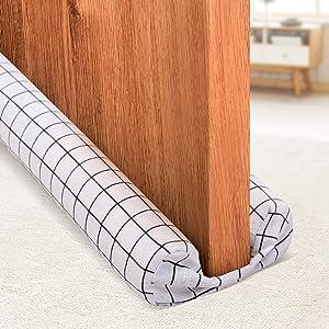 Holikme Twin Door Draft Stopper Weather Stripping Noise Blocker Window Breeze Blocker Adjustable Door Sweeps 34inch (White Squares)