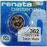 RENATA 362 Battery, Watch, Single Cell, Silver Oxide, 24 mAh, 1.55 V, SR58, Flat Top, 7.9 mm