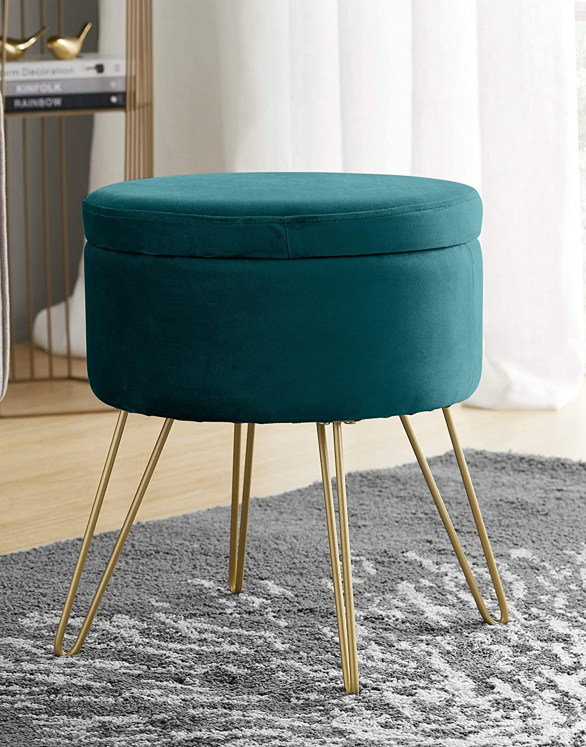 Ornavo Home Modern Round Velvet Storage Ottoman Foot Rest Stool/Seat with Gold Metal Legs & Tray Top Coffee Table - Teal