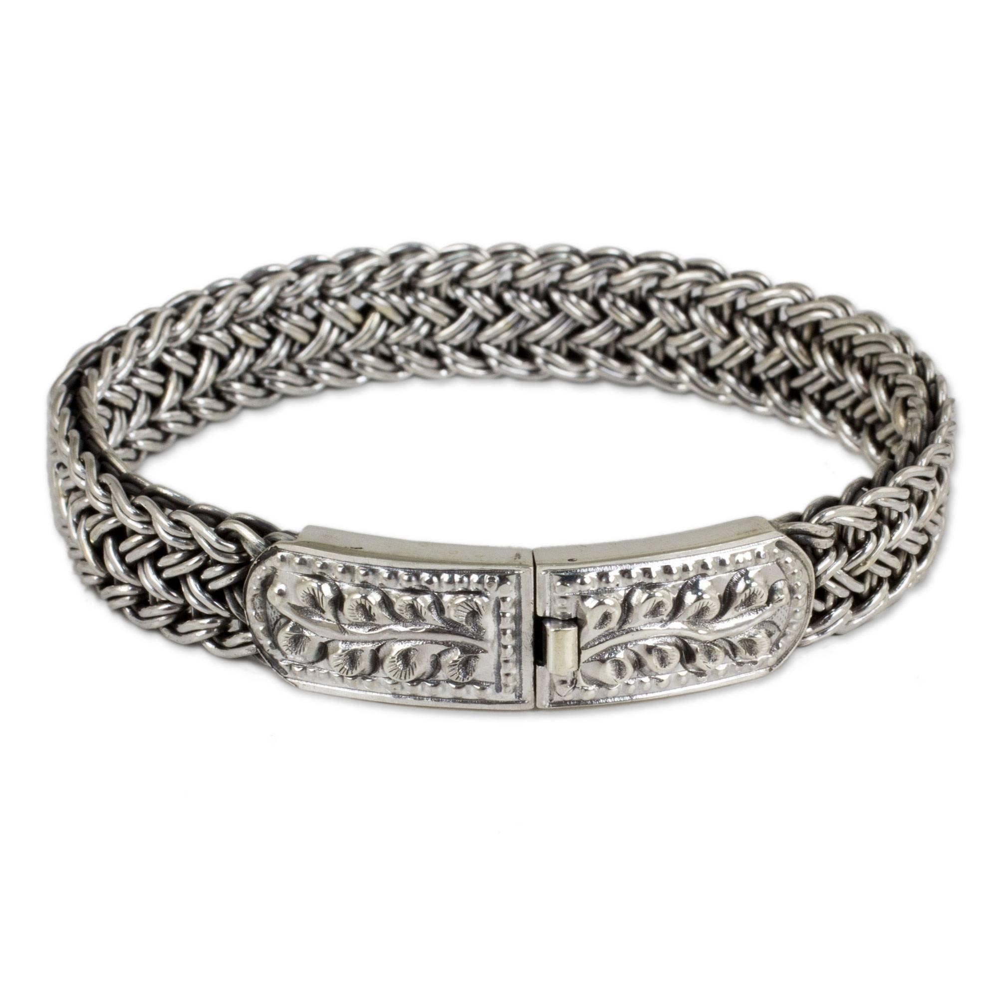 NOVICA .925 Sterling Silver Braided Chain Wristband Bracelet, 7'', Unity'