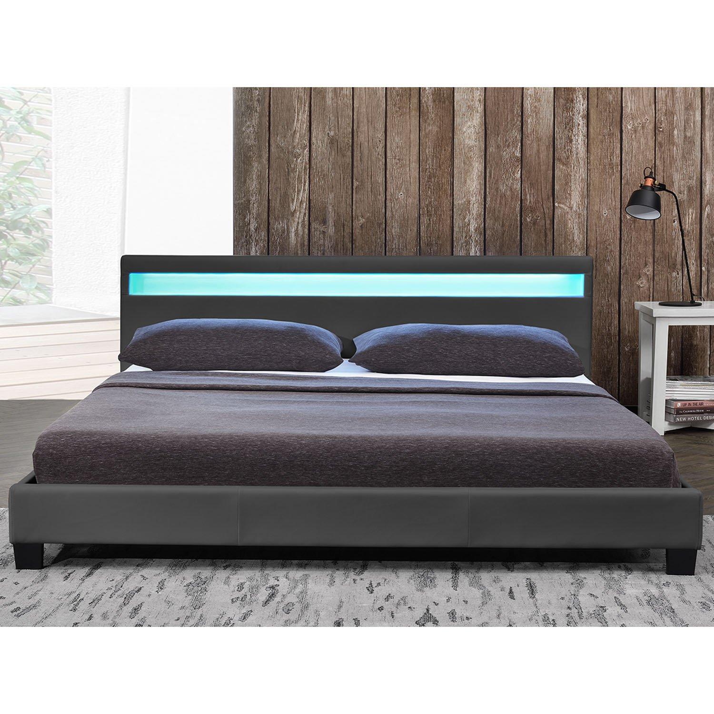 Cama tapizada modelo «París», 160 x 200 cm, color gris oscuro, con somier laminado y colchón de espuma fría: Amazon.es: Hogar
