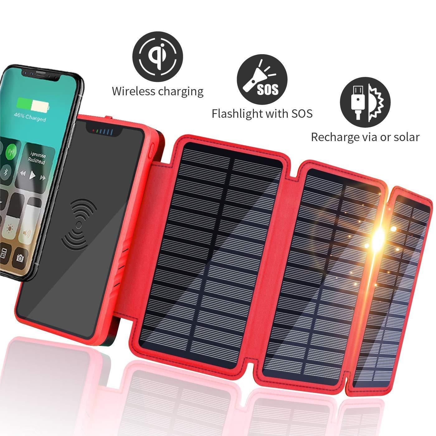 Soluser Batería Externa, Power Bank portátil 20000mAh Ultra Alta Capacidad Cargador Solar Móvil con 2 Puertos Salidas USB Alta Velocidad y Linterna ...
