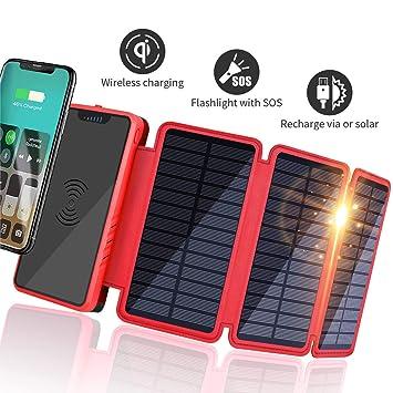 Soluser Batería Externa Solar 20000mAh, Solar Power Bank 2 Salidas USB Cargador Inalámbrico Portátil con indicador de Estado LED y Linterna SOS para ...