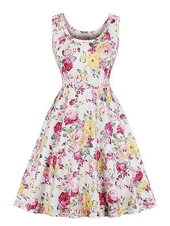 7487ba71ef874 ZURIFFE Women s Summer Floral Sleeveless Casual Flared Tank Dress Beige M