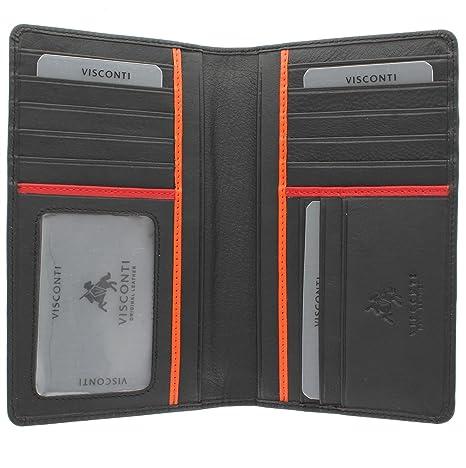 Visconti Colección Bond Jaws Cartera de Chaqueta de Cuero para Hombre BD12 Negro/Naranja