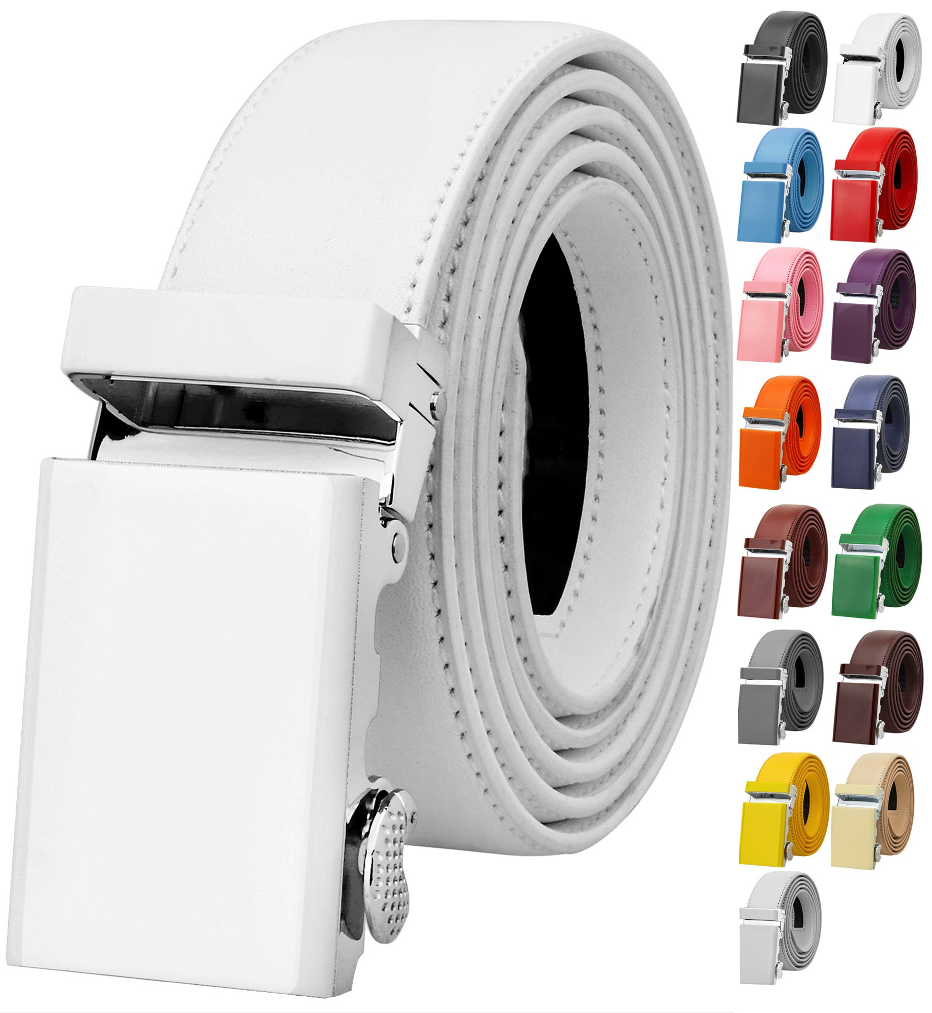 Falari Men's Genuine Leather Ratchet Dress Belt Automatic Sliding Buckle 8168-WHT-XL44