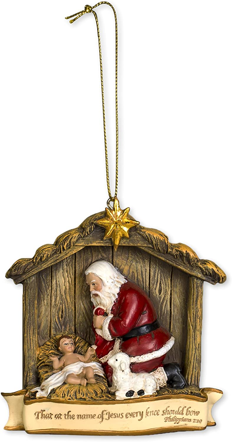 Every Knee Should Bow 3.5 x 4 inch Resin Stone Christmas Ornament Decoration
