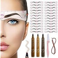 TEUVO 24 Wenkbrauw Sjablonen Wenkbrauwvormer Kits voor Vrouwen Make-up, DIY Herbruikbare Wenkbrauwsjabloon voor…