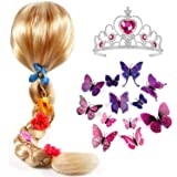 Tacobear Princess Rapunzel Wig for Girls with Princess Tiara and Butterfly Pin Princess Rapunzel Dress up Accessories…