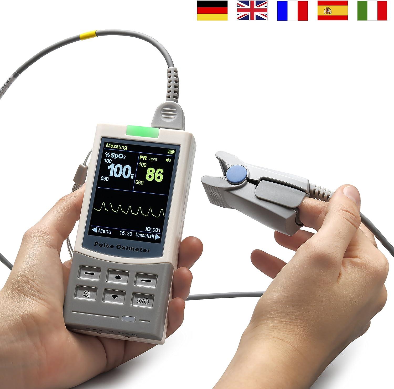 MedX5 pantalla TFT en color de 2,8', oxímetro de pulso para seguimiento a largo plazo con sensor, pulsómetro de pulso de dedo, Pulsioximetro, producto sanitario certificado