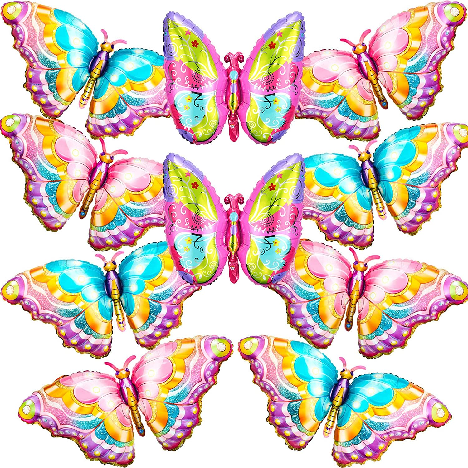 10 Pieces Butterfly Foil Balloons Butterfly Fairy Balloon Butterfly Birthday Helium Mylar Balloons Jumbo Balloons for Butterfly Theme Party Supplies Gender Reveal Wedding Birthday Decor 3 Colors