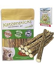 Woofles Katzenspielzeug 8X Katzenminze Stick + GRATIS E-Book, unsere Matatabi – Kausticks helfen spielerisch bei Zahnstein, Mundgeruch & Zahnpflege