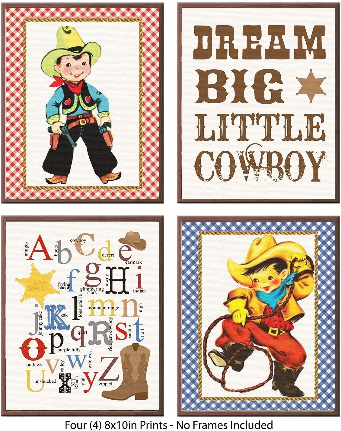 Vintage Retro Lil Buckaroo Cowboy Themed Party Supply Bedroom Bathroom Decor Art Wall Prints Signs (Dream Big Cowboy Art)