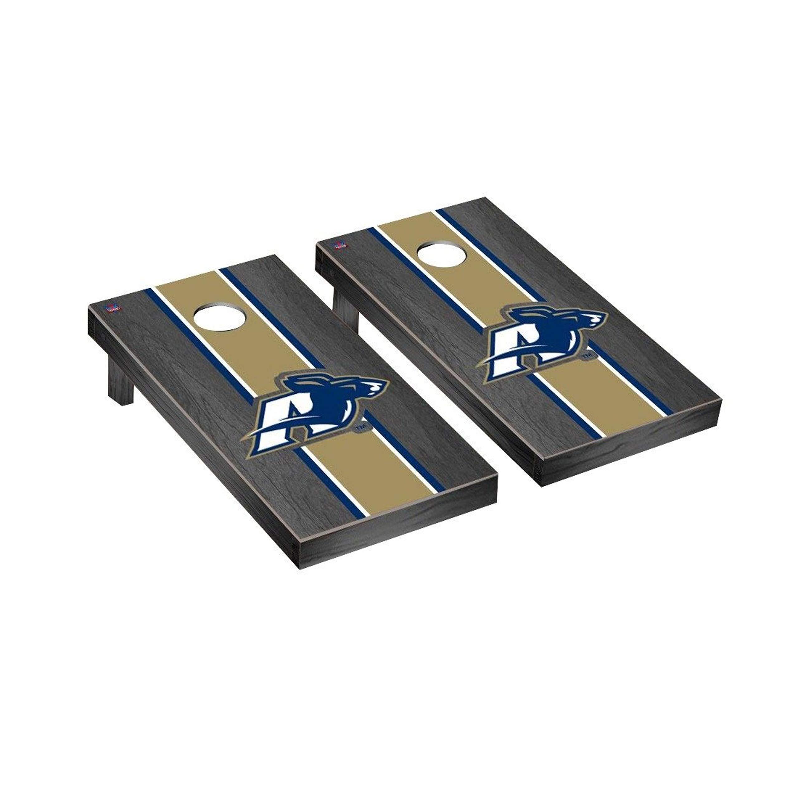 Victory Tailgate Regulation Collegiate NCAA Onyx Stained Stripe Series Cornhole Board Set - 2 Boards, 8 Bags - Akron Zips