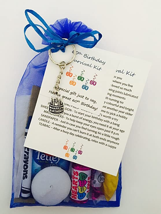 60th Birthday Survival Gift Kit Fun Happy Present For Him Her Choose From Lilac Or Blue Royal Amazoncouk Office Products
