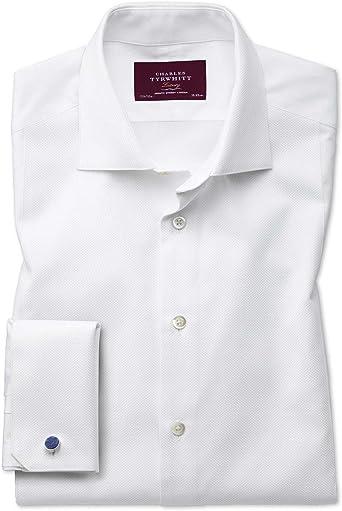 Camisa de Etiqueta Blanca de piqué Extra Slim fit con Pechera ...