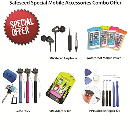 df62959942f Safeseed® Special Mobile Accessories Combo Offer: 5 Item Pack: Monopod  Selfie stick,