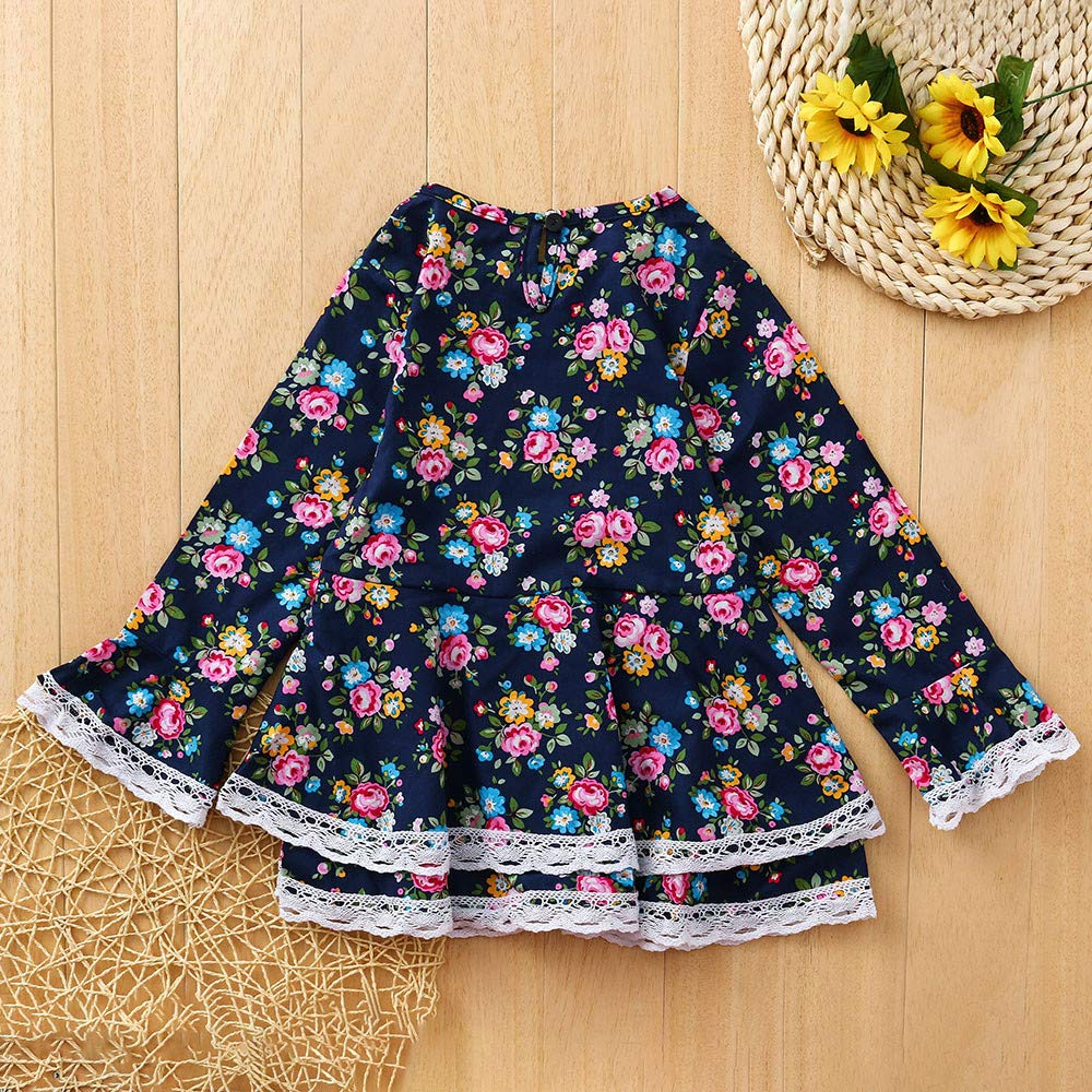 KONFA Toddler Baby Girls Lace Flowers Print Dresses,for 0-4 Years Old,Little Princess Flare Sleeve Skirt Clothing Set