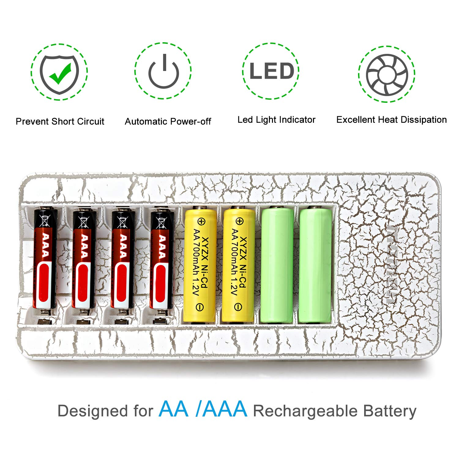 AAA Battery Charger,Momen 8 Bay AA Battery Charger with LED Light Indication for Rechargable AA/AAA Battery