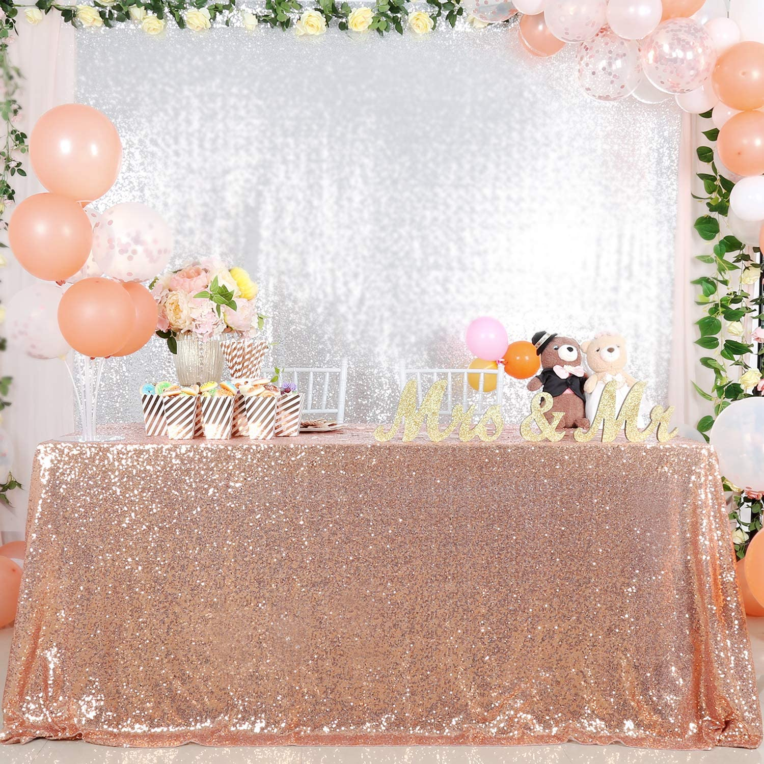 B-COOL 60X102in Rectangle Rose Gold Sequin Tablecloth Sparkly Tablecloth for Halloween Thanksgiving Day Wedding Party Curtain Birthday Christmas New Year and Other Event Decor
