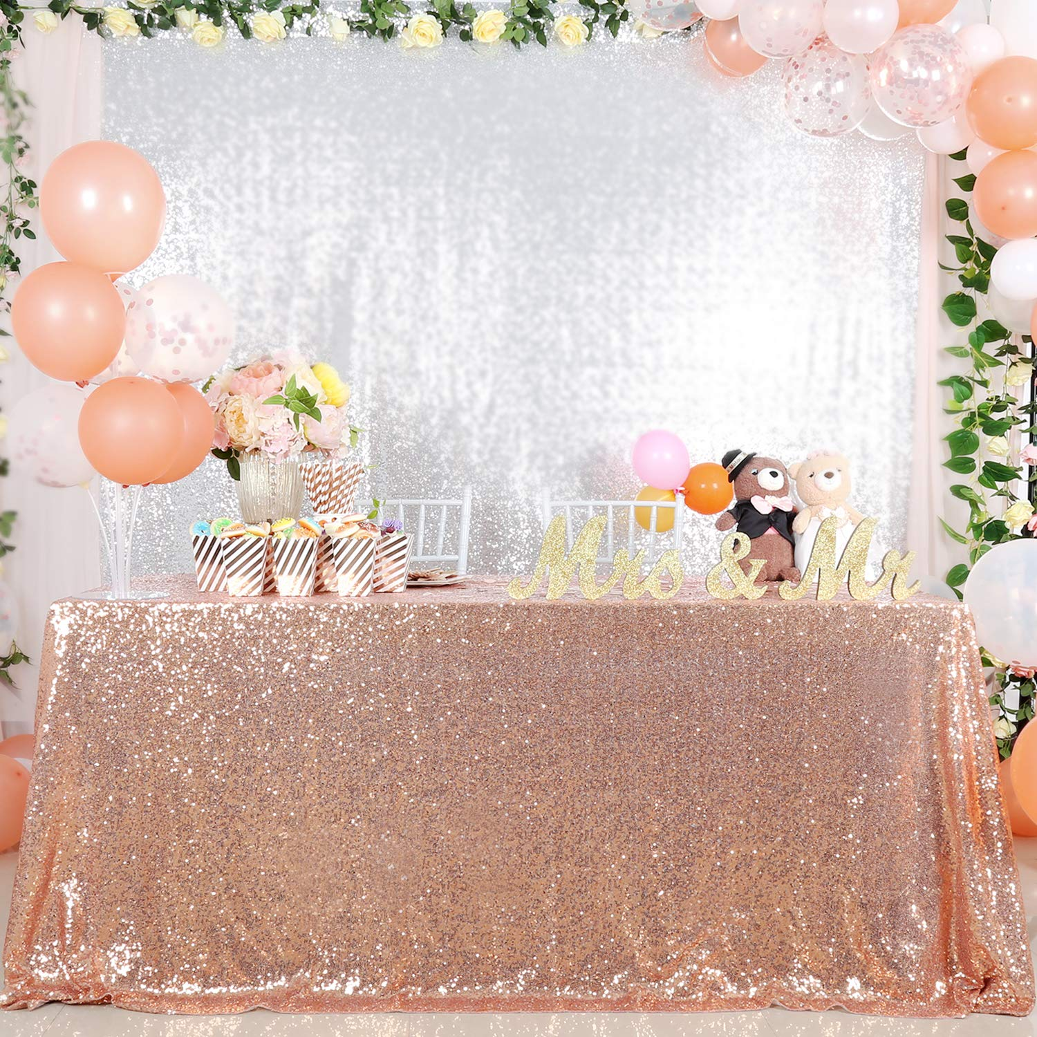 B-COOL Rose Gold Sequin Tablecloth 60x102inches Wedding Table Cloth Sparkle Sequin Linens Rectangular Birthday Table Overlays by B-COOL